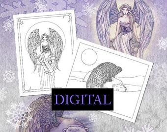 SALE Printable Digital Download - Holiday Coloring Fun - Polar Bears, Angels, More! - Fantasy Coloring Book