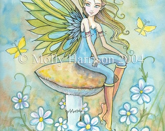 Fairy Art Print - Fairy and the Yellow Butterflies - Colorful and Whimsical Fine Art Print by Molly Harrison 8 x 12