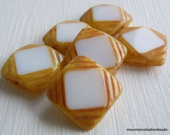 15mm Square Table Cut Opaque White Picasso Beads - 6 Czech Picasso Beads  Czech Glass Beads (G - 402)