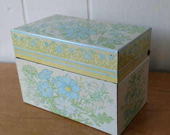 vintage pastel flower recipe box