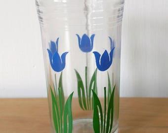 vintage tulip swanky swig glass blue