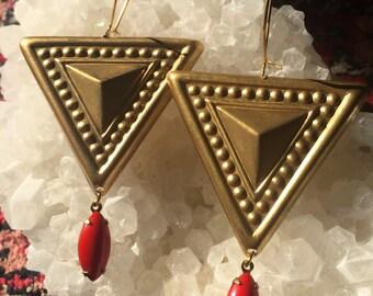 YONI YANTRA Earrings shakti kali ma yogini priestess jewelry vintage brass and crimson glass