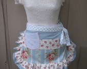 Aprons - Womens Aprons - Blue and Pink Rose Aprons - Pink Cabbage Rose Aprons - Handmade Aprons - Pink Roses Aprons - Annies Attic Aprons