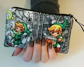 ZELDA Small Padded Zippered Coin Pouch Bank Card Holder