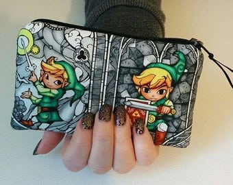 ZELDA LINK Padded Zippered Coin Pouch Bank Card Holder Anime Cosplay