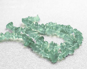 Coke Bottle Pebbles- recycled sea glass beads-cultured sea glass beads- pebble beads-green beads-beading supplies-frosted green beads