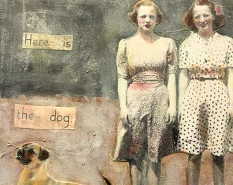 painting  portrait vintage sisters friends and dog mixed media heather murray