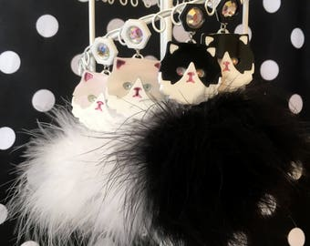 Persian Kitty Cat Laser Cut Acrylic and Pom Pom Earrings in White or Black & White