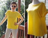 SUNSHINE 1970's 80's Vintage Bright Yellow Light Terrycloth Shirt w/ Cuffed Short Sleeves // size Medium