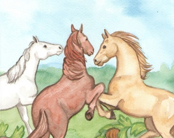 Original Art - The Three of Cups - Watercolor Horse Painting - Art from The Riderless Tarot