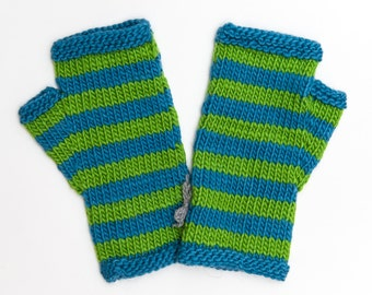 Striped Green and Blue Fingerless Mitts, Hand Knitted Wool Fingerless Gloves, Knitwear, Fall and Winter Fashion