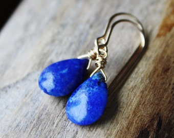 Blue lapis earrings, lapis lazuli jewelry, 14k gold filled earrings cobalt gold drop