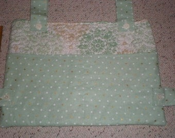 Mint Green White and Gold Print and Polka Dots Walker Bag Tote