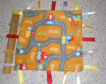 Cute Road Signs and Trucks Print Fleece Baby Sensory Taggie Blanket