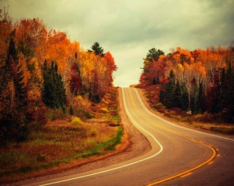 Autumn in Wisconsin, Colorful Landscape Photography, Fall Foliage, Wisconsin Decor, Woods, Forest, Road, Nature Photo