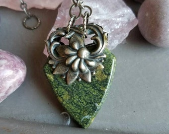 Forest floor stone and filigree necklace