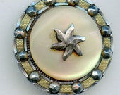 """Victorian Shell button with Brass and Cut Steel Star Embellishments 1 1/8"""" 3449"""
