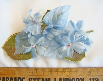 Lot of (3) Vintage Millinery Elements Blue White Leaves and Many Multiple Flowers 3857