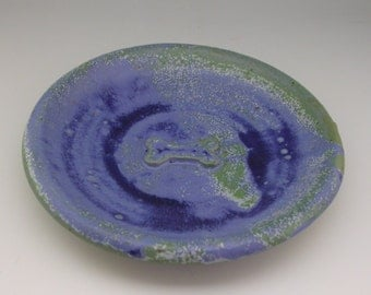 Pet Dish - Dog Dish - Pottery Pet Plate - Bone dish - Blue Dog Dish -  Pet plate - dog plate - small dog plate - Blue bone plate