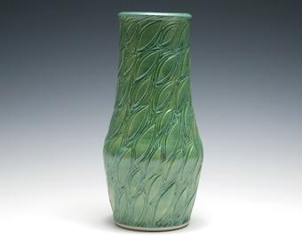 Jade Green Vase, Leaf Design, Narrow Vase, Handmade Pottery, Green Ceramic Vase, Home Decor