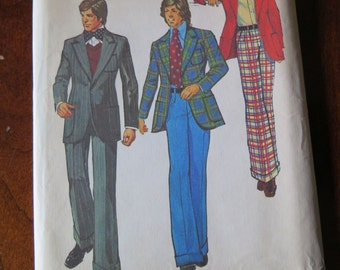 Vintage Simplicity 5765 Teen Boys Sport Coat Jacket Wide Leg Pants Sewing Pattern size 14 Chest 32 UNCUT