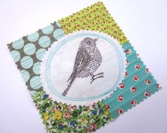 Fabric Patch, Quilt Block, Applique - Newsprint Bird