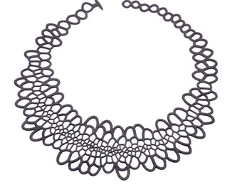 Sinuate Necklace - black | lasercut rubber jewelry | statement necklace | Corollaria collection