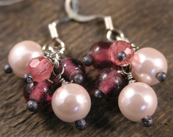 Pink pearls, vintage glass beads and silver handmade earrings