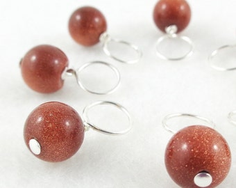 Snag-Free Stitch Markers for Knitting or Crochet, Goldstone Gemstone, Choose Your Size, Set of 8, Customizable with Removable Hooks or Rings