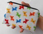 Zipper Pouch Little Padded Coin Purse ECO Friendly NEW Mini Puppies