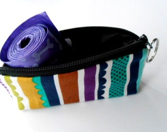 Dog Bag Holder Zipper Pouch with Key Ring ECO Friendly Padded  NEW Carnival