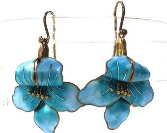 Vintage Early Laurel Burch Enamel Flower Earrings / 70s Sterling Silver Cloisonne / Guilloche / Vermeil Floral Dangle Earrings / Pierced