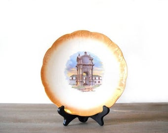 Plymouth Rock Plate, National China, Thanksgiving Decor, Orange Lustre Serving Plate, Plymouth Mass Souvenir Dish