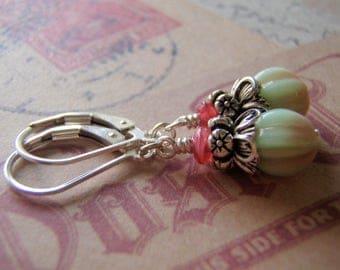 Raspberry Green Earrings Sterling Silver Filled Ear Wire 8 mm Melon Glass