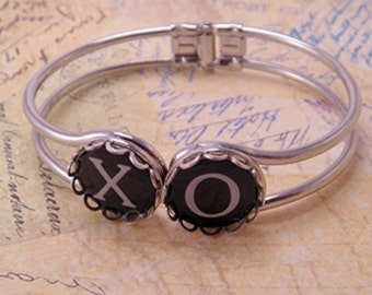 Hugs and Kisses XO Hinged Cuff Typewriter Key 7 Inch Bracelet OR You Pick Letters or Symbols or Numbers