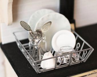 Dolls House Miniature Filled Kitchen Sink Drainer