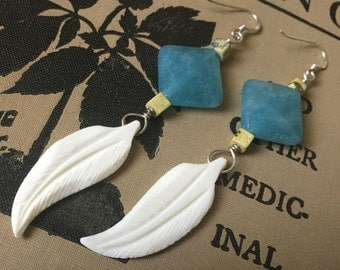 Bone Feather Earrings - Blue Crystal and Yellow Turquoise - Handmade Sterling Silver Dangle Earrings