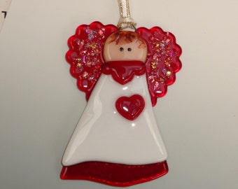 Small Red and White Fused Glass Angel, Valentine Angel, Holiday Angel, Stained Glass Angel Suncatcher, Angel Ornament - Here's my Heart