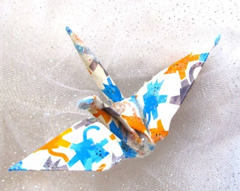 Kitty Cat Tale Peace Crane Bird, Wedding Cake Topper,  Party Favor Origami Ornament Christmas Decoration Paper Anniversary White Blue Yellow