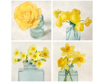 Flower Photo Set, Flower Photography, Yellow, Orange, Teal, Aqua, Floral Art Prints, Wall Art, Photography Set, Wall Decor, Set of 4 Photos