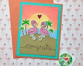 Flamingos Congratulations Card Reserved