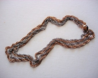 Lovely 4-Multi-Strand Twisted Rope Vintage Metal Necklace