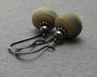 Glass Lampwork Earrings Beige Tan Cream Marcasite Olive Green Denim Blue Oxidized Sterling Silver Earrings Gift for Her