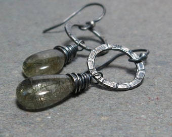 Green Rutilated Quartz Earrings Sterling Silver Circle Oxidized Earrings Dangle Gift for Her