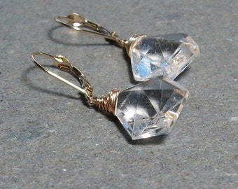 Crystal Quartz Earrings 14 kt Gold Leverback Clear Gemstones Gift for Wife 14kt Gold Bride Earrings Lever Back