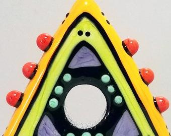 Big Holed Triangle Slider Handmade Lampwork Glass Bead Disc