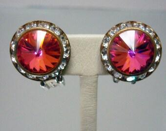 Mister Bijoux Rivoli Earrings Pink Red Orange Vintage Jewelry