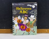 Recycled Golden Book Journal -Halloween ABC- journal made from recycled vintage book