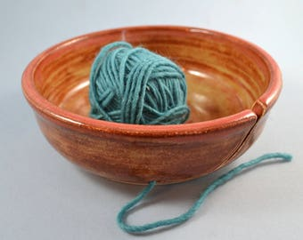 Yarn bowl handmade of stoneware for knitters and crocheters