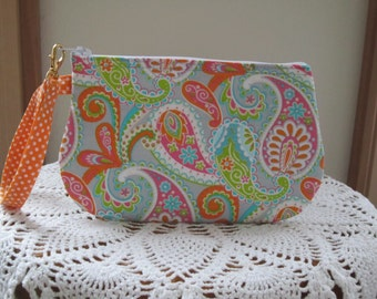 Retro Bohemian Floral Wedding Clutch Wristlet Zipper Gadget Purse Pouch Paisley